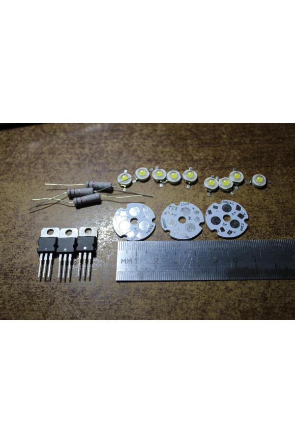 Набор 3ри платы Ф23, 3 ИМС LM317, 3 СД 3 Вт, 3 резистора 1.5Ом 2Вт
