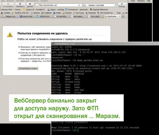 Собственно, веб-сервер работает ... но закрыт длядоступа. Смех.