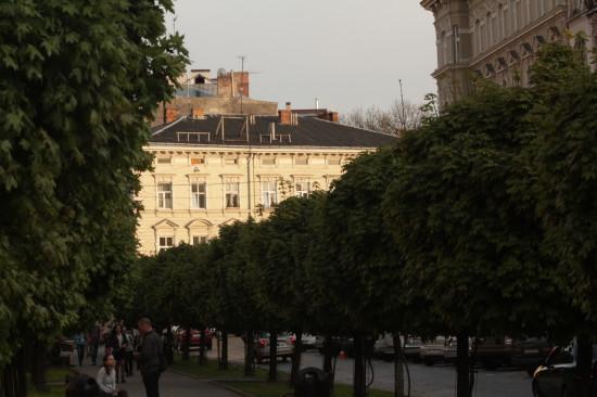 Вид с аллеи улицы Академической во Львове